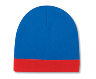 """Reversible acrylic knit two tone color beanies, 8"""" with 1 1/2"""" trim"""