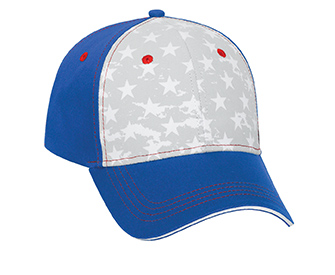 Star pattern cotton twill sandwich visor withcontrast stitching two tone color six panel low profile pro style caps