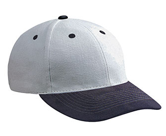Suede visor brushed bull denim crown two tone color six panel low profile pro style caps