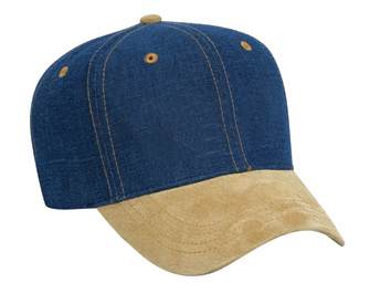 Suede visor brushed denim crown two tone color six panel pro style cap