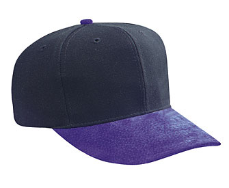 Suede visor wool blend crown two tone color six panel pro style cap