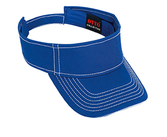 Superior cotton twill sandwich visor withcontrast stitching solid color six panel sun visors