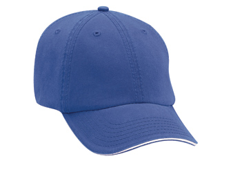Superior garment washed cotton twill sandwich visor withstriped closure solid color six panel low profile pro style caps