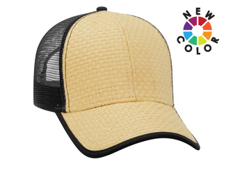 Toyo straw solid and two tone color six panel low profile pro style mesh back caps