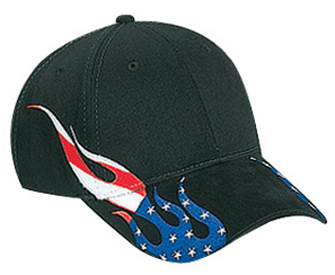 United States flag flame pattern brushed cotton twill two tone color six panel low profile pro style caps