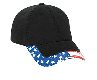 United States flag pattern distressed visor superior garment washed cotton twill solid and two tone color six panel low profile