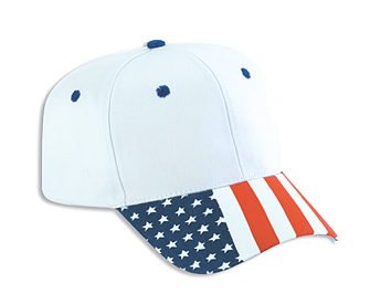 United States flag visor cotton twill two tone color six panel pro style cap