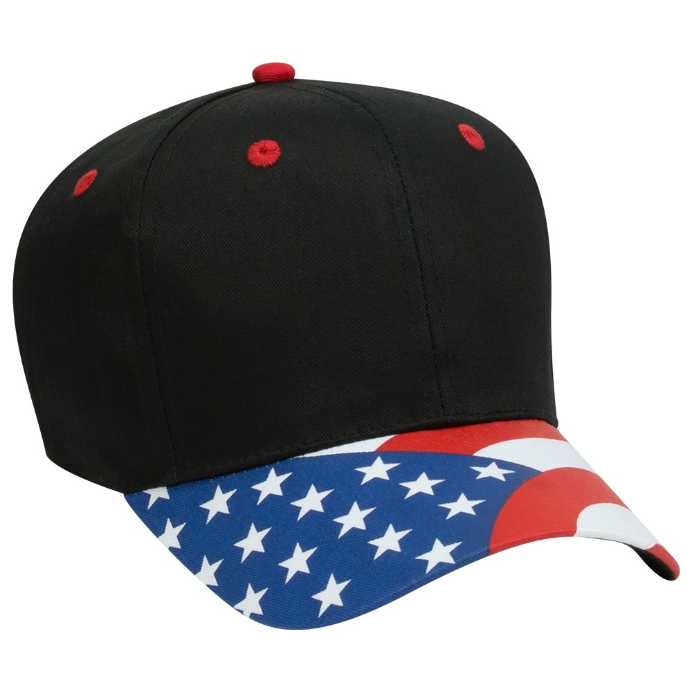 United States flag visor cotton twill two tone color six panel pro style caps