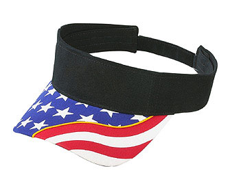 United States flag withyellow ribbon visor superior brushed cotton twill two tone color sun visors