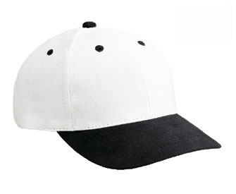Washed brushed cotton twill two tone color six panel low profile pro style cap