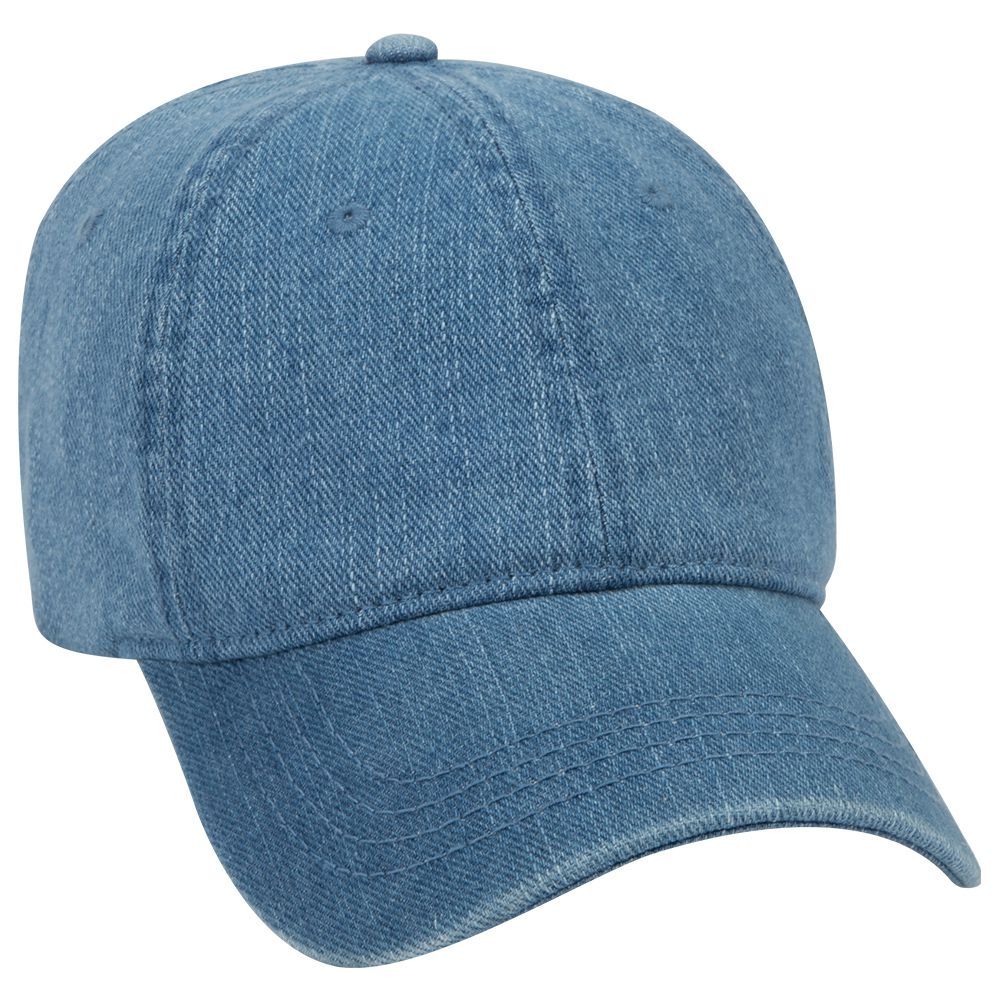 Washed pigment dyed denim solid color six panel low profile pro style cap