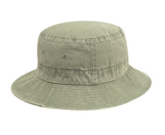 Youth washed pigment dyed cotton twill solid color six panel bucket hat