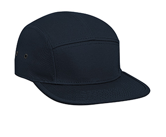 Superior cotton twill square flat visor with binding trim solid color five panel camper style caps
