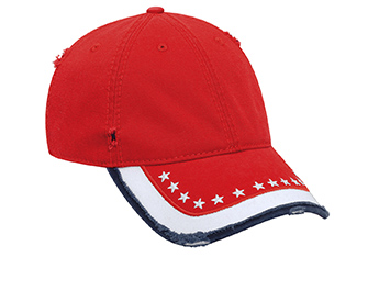 United States flag pattern distressed superior garment washed cotton twill solid and two tone color six panel low profile pro st