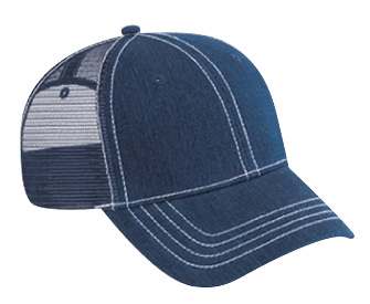 Washed denim solid color six panel low profile pro style mesh back caps