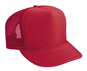 ... Youth polyester foam front solid color six panel five panel high crown  golf style mesh back ... b6dabbe762b0