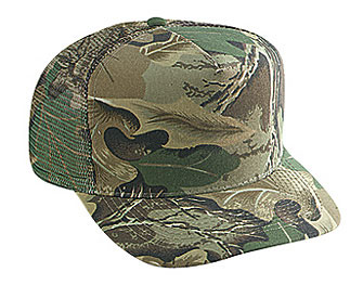 Camouflage polyester foam front five panel high crown golf style mesh back cap (plain front)