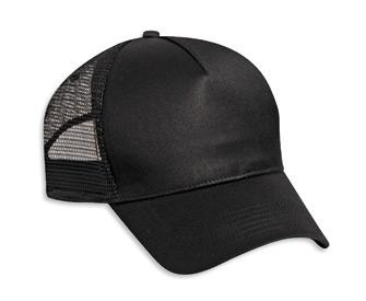 Solid Cotton Twill Low Profile Nylon Mesh Back Cap Black