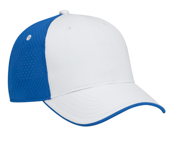 Deluxe cotton twill withpolyester pro mesh back flipped edge visor two tone color six panel low profile pro style caps