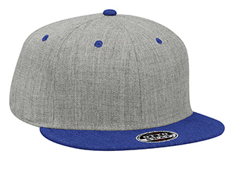 "OTTO Cap 125-1054 - Heather Wool Blend Flat Visor ""OTTO Snap"" 6-Panel Snapback Hat"