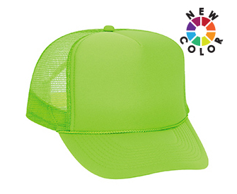 Neon polyester foam front solid and two tone color five panel high crown golf style mesh back caps