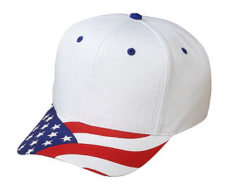 United States flag visor brushed cotton twill two tone color six panel low profile pro style cap
