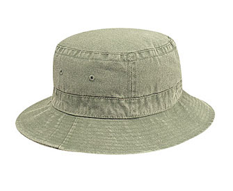 Washed pigment dyed cotton twill solid color six panel bucket hats