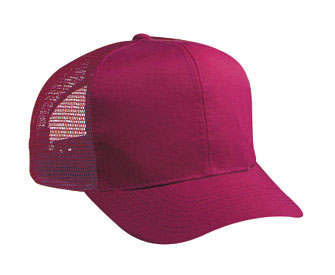 Youth cotton twill solid color six panel pro style mesh back caps
