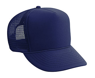 Youth polyester foam front solid color six panel five panel high crown golf style mesh back caps