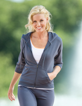 Enza 01679 - Ladies Quarter Sleeve Full Zip Hoodie