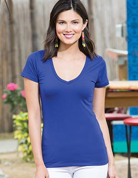 Enza 03479 - Ladies Essential Short Sleeve Deep V-Neck ...