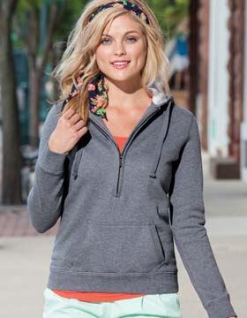Enza 34379 - Ladies Long Sleeve Three Quarters Zip Fleece ...