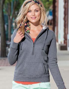 Enza 34379 - Ladies Long Sleeve Three Quarters Zip Fleece Hoodie