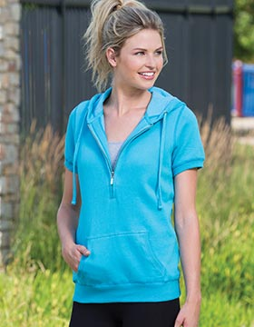 Enza 34679 - Ladies Short Sleeve Three Quarters Zip Fleece Hoodie