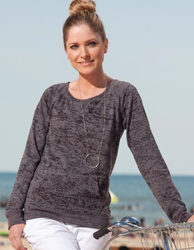 Enza 36579 - Ladies Wide Neck Crew Burnout Fleece