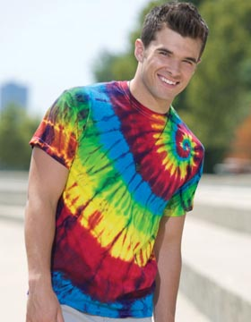 Tie-Dyed ED922 - Multi Color Left Shoulder Swirl T-Shirt