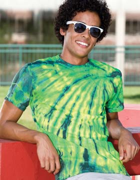 Tie-Dyed ED924 - Multi Color Left Shoulder Flames T-Shirt
