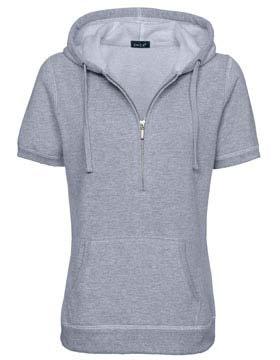 Enza 34679 - Ladies Short Sleeve Three Quarters Zip Fleece Hoodie