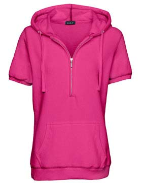 Enza 34679 - Ladies Short Sleeve Three Quarters Zip Fleece Hoodie ...
