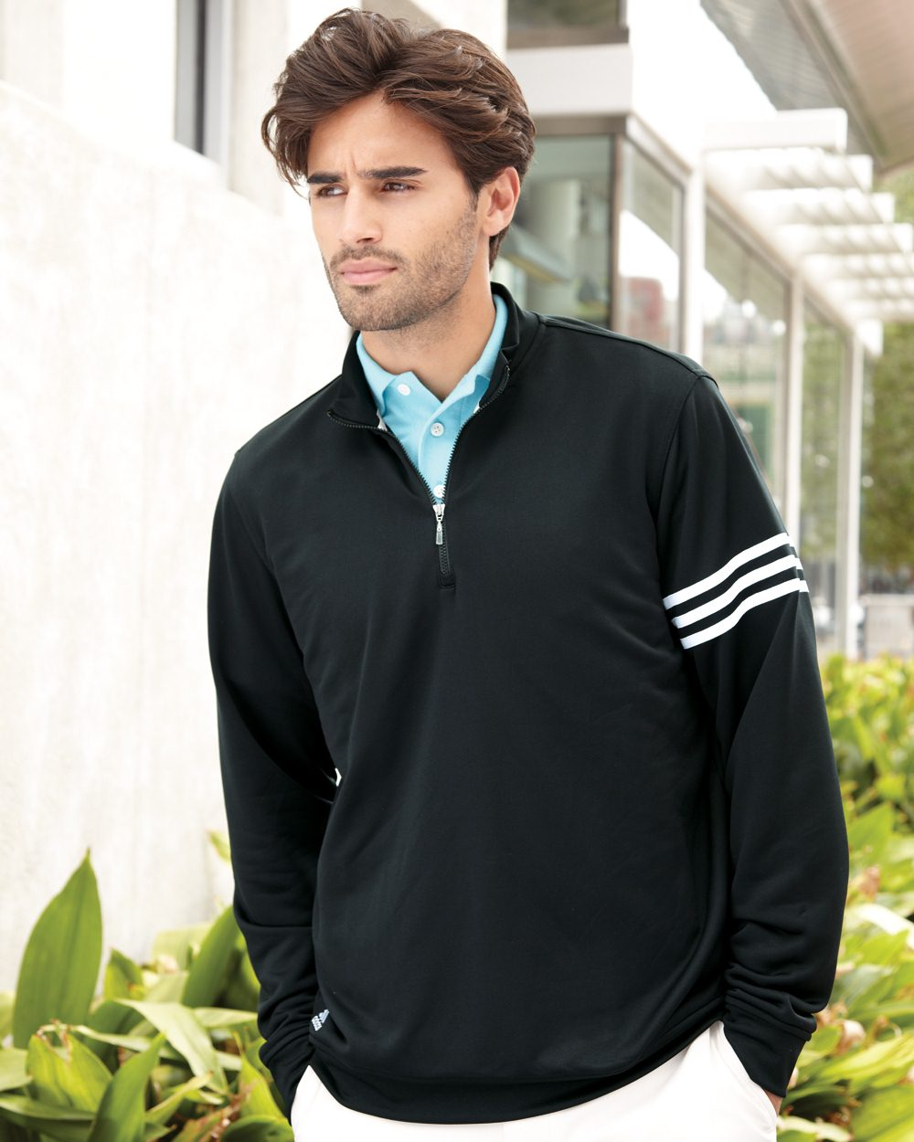 adidas ClimaLite® Three-Stripe French Terry Pullover - A190