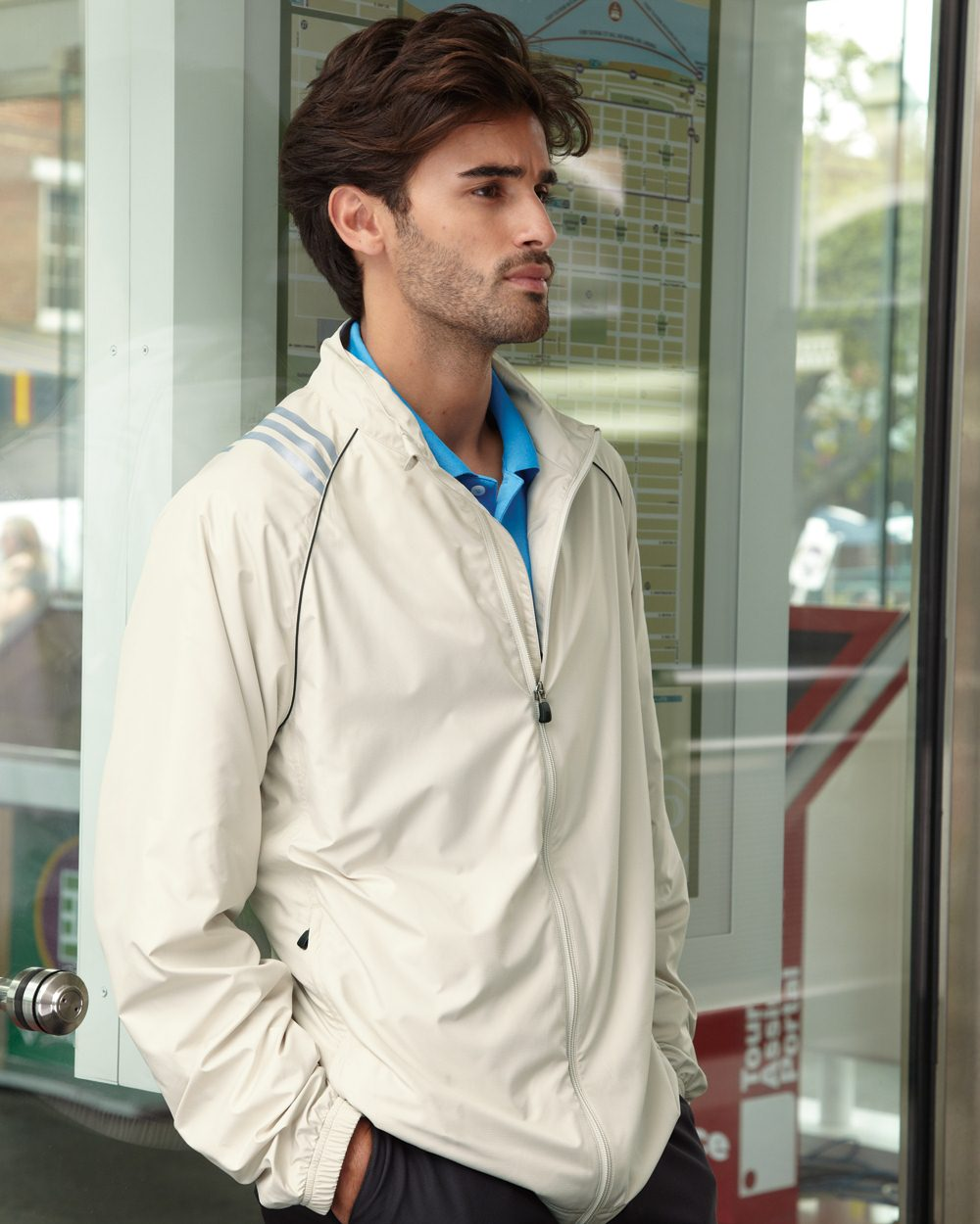 adidas ClimaProof® Three-Stripe Full Zip Jacket ...