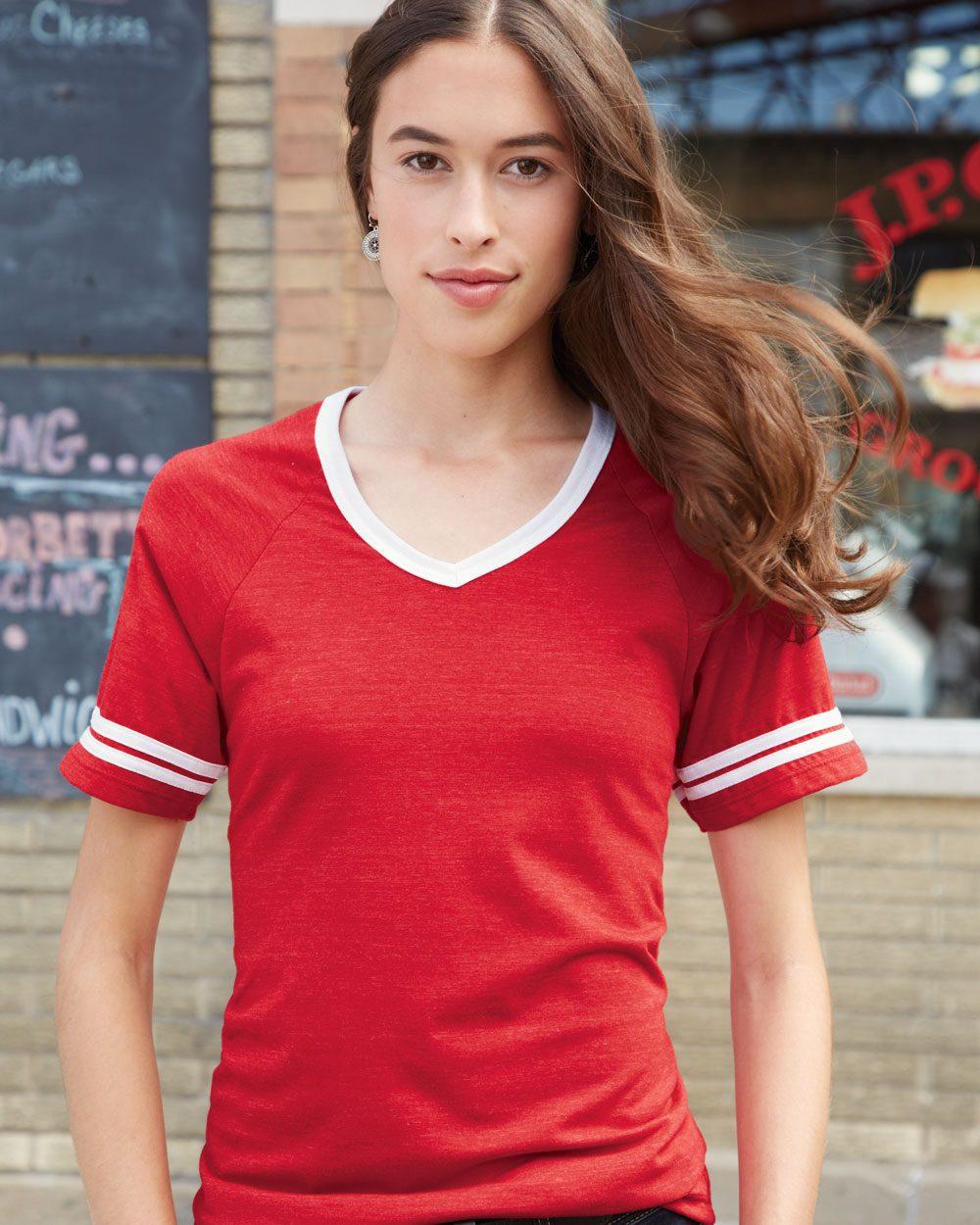 Blue 84 Juniors' Triblend V-Neck Ringer T-Shirt - JTVR