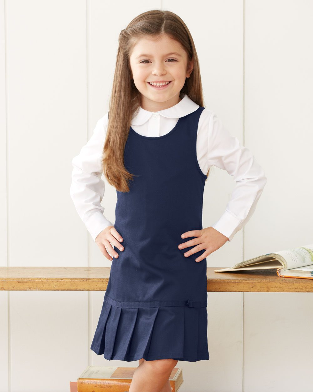 French Toast Girl's Twill Pleated Hem Jumper - Y9098