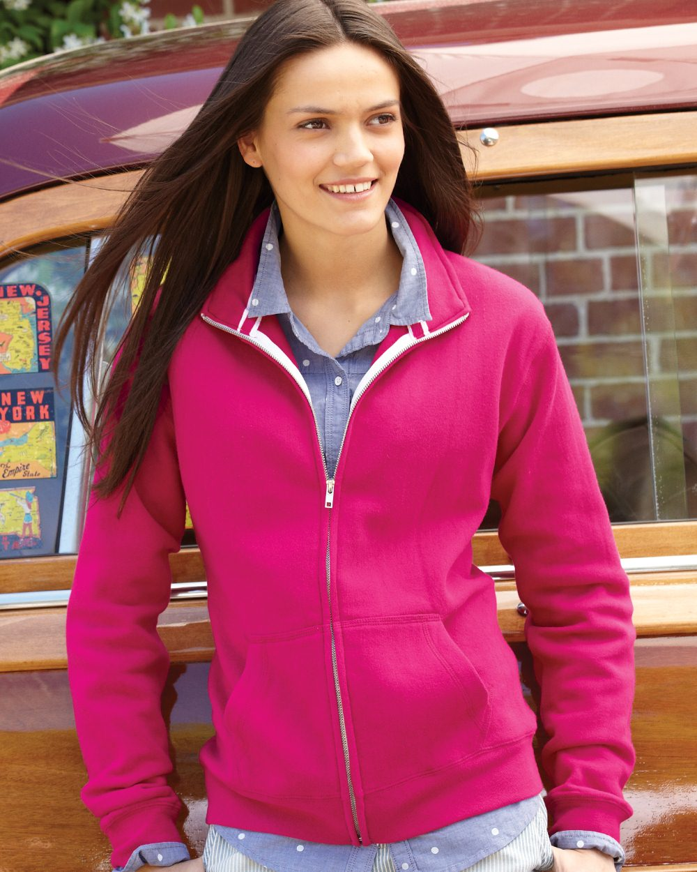J. America Ladies' Sueded Fleece Full-Zip Sweatshirt ...