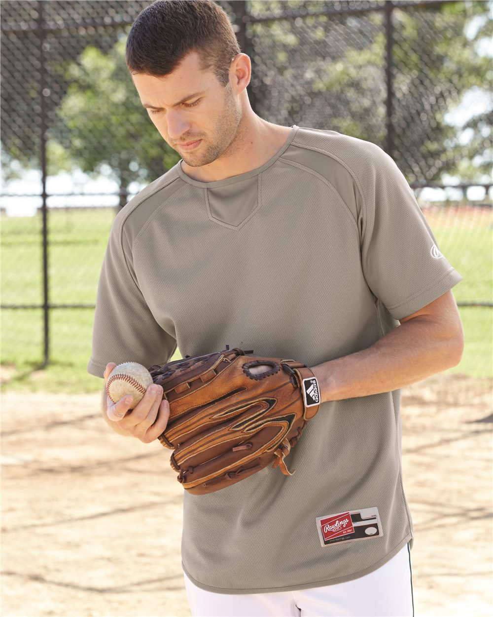 Rawlings Short Sleeve Flatback Mesh Fleece Pullover ...