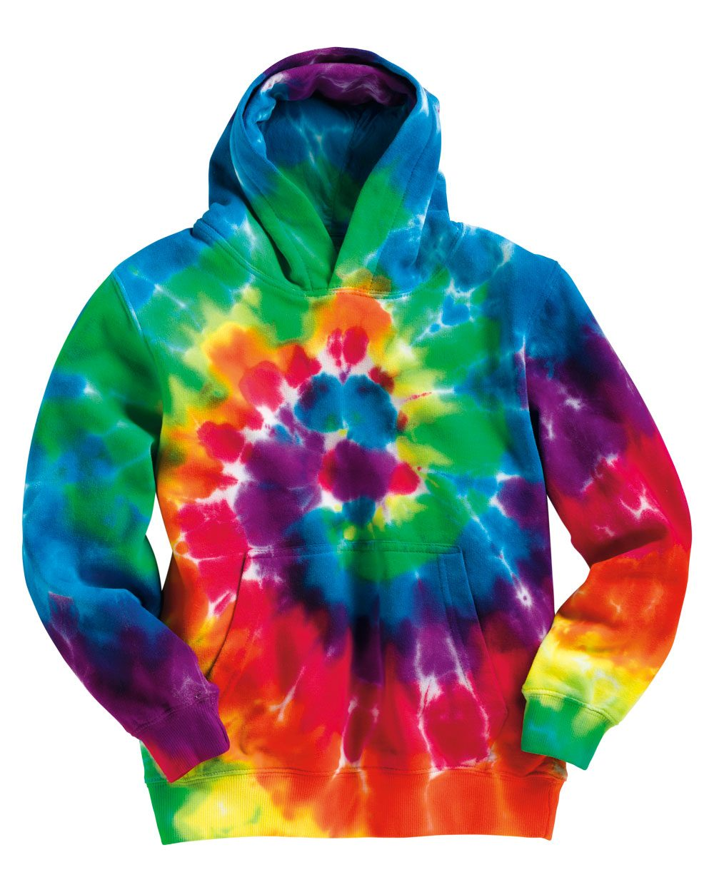 Tie-Dyed Youth Multicolor Swirl Hooded Sweatshirt - 854BMS