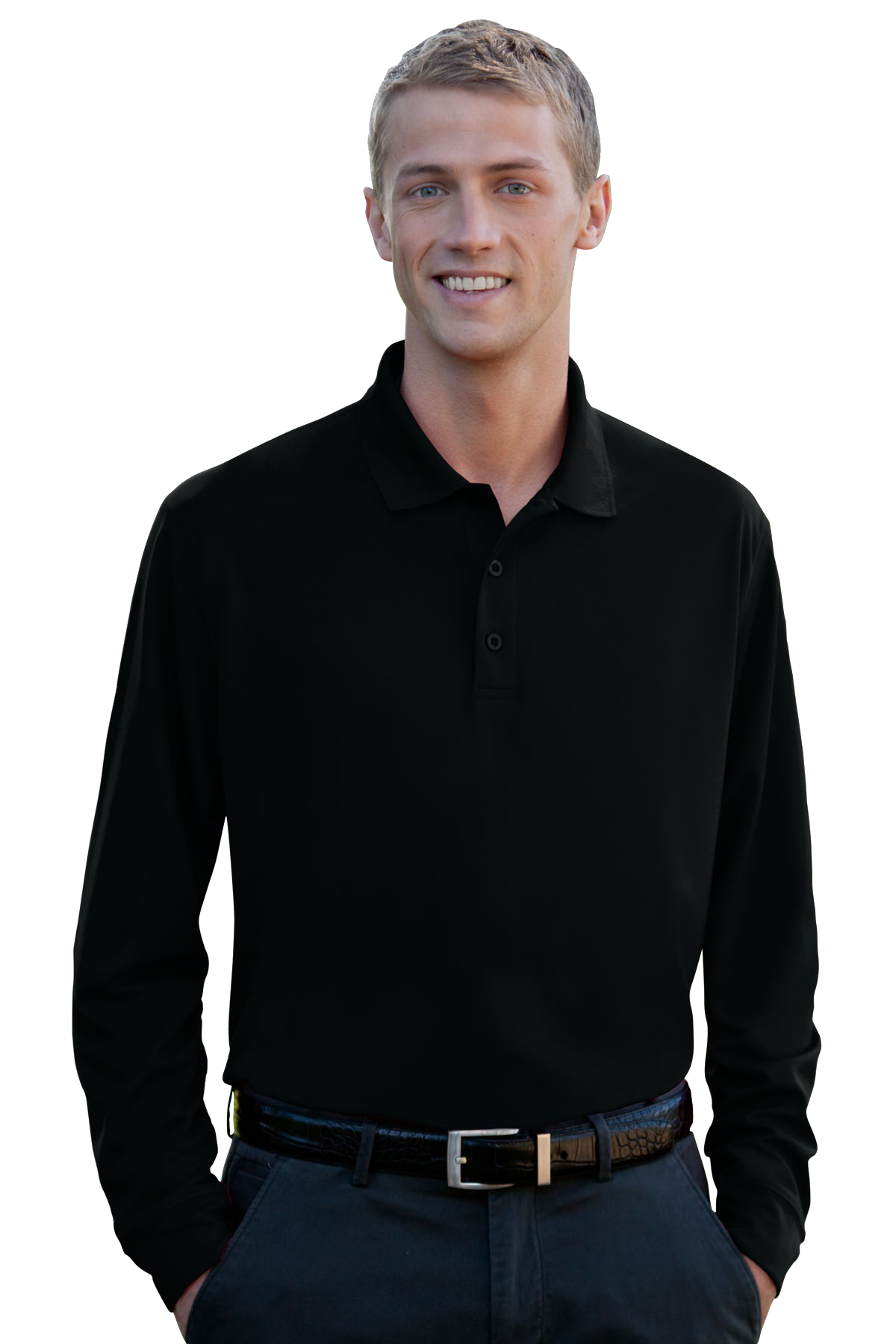 Vansport 2602 - Omega Solid Long Sleeve Mesh Tech Polo
