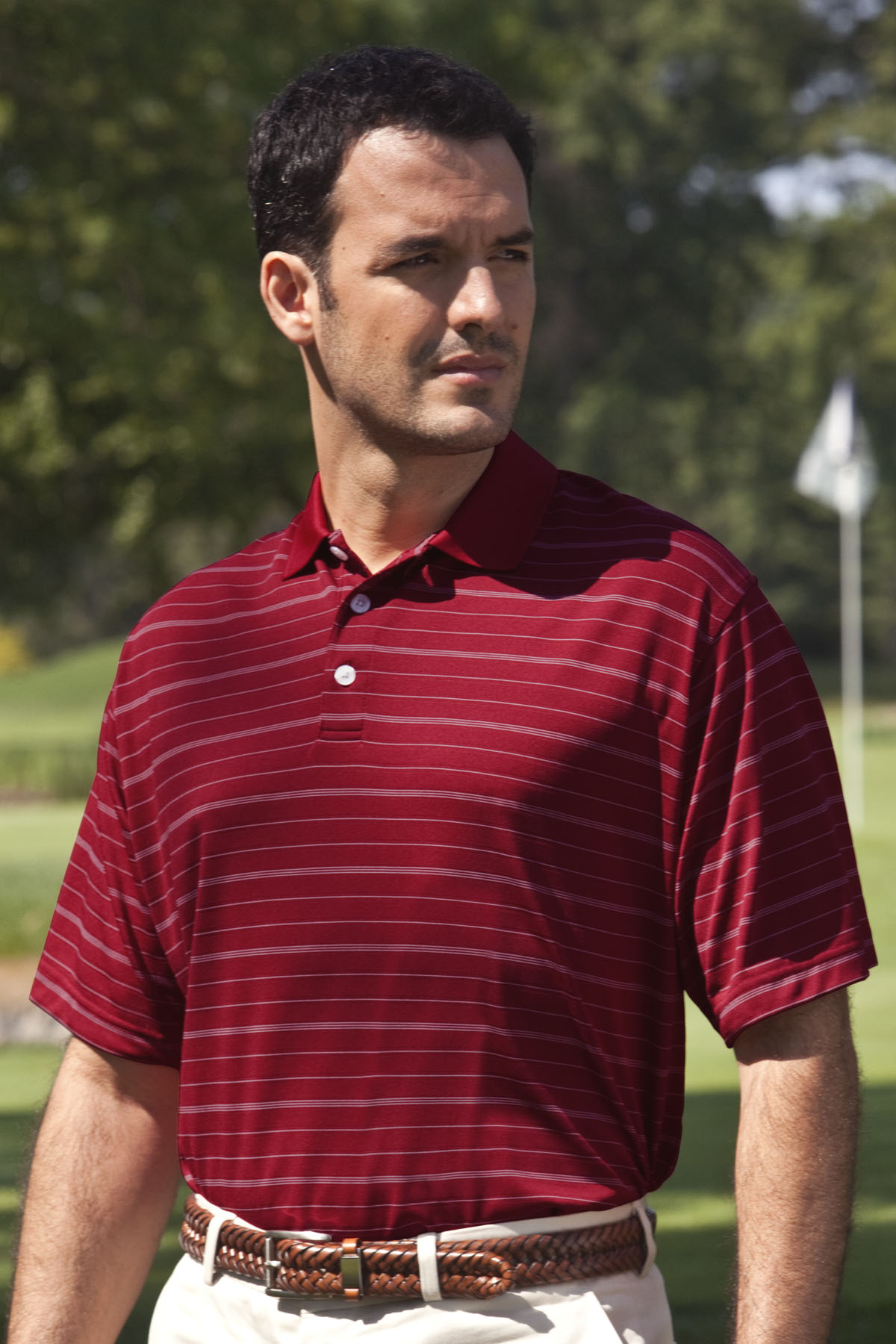 Vansport 2943 - Vansport Two-Color Textured Stripe Polo