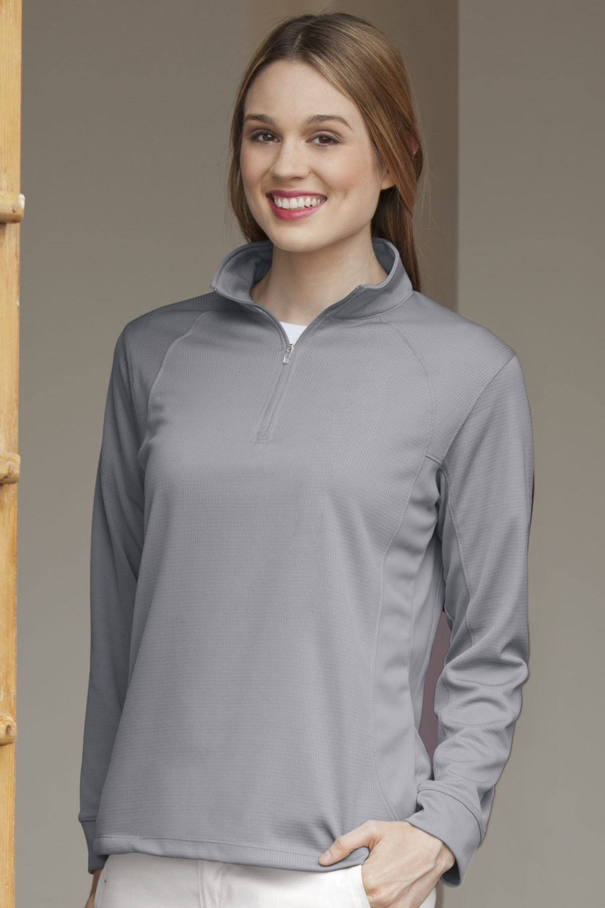 Vansport 3406 - Women's Mesh Quarter Zip Tech Pullover