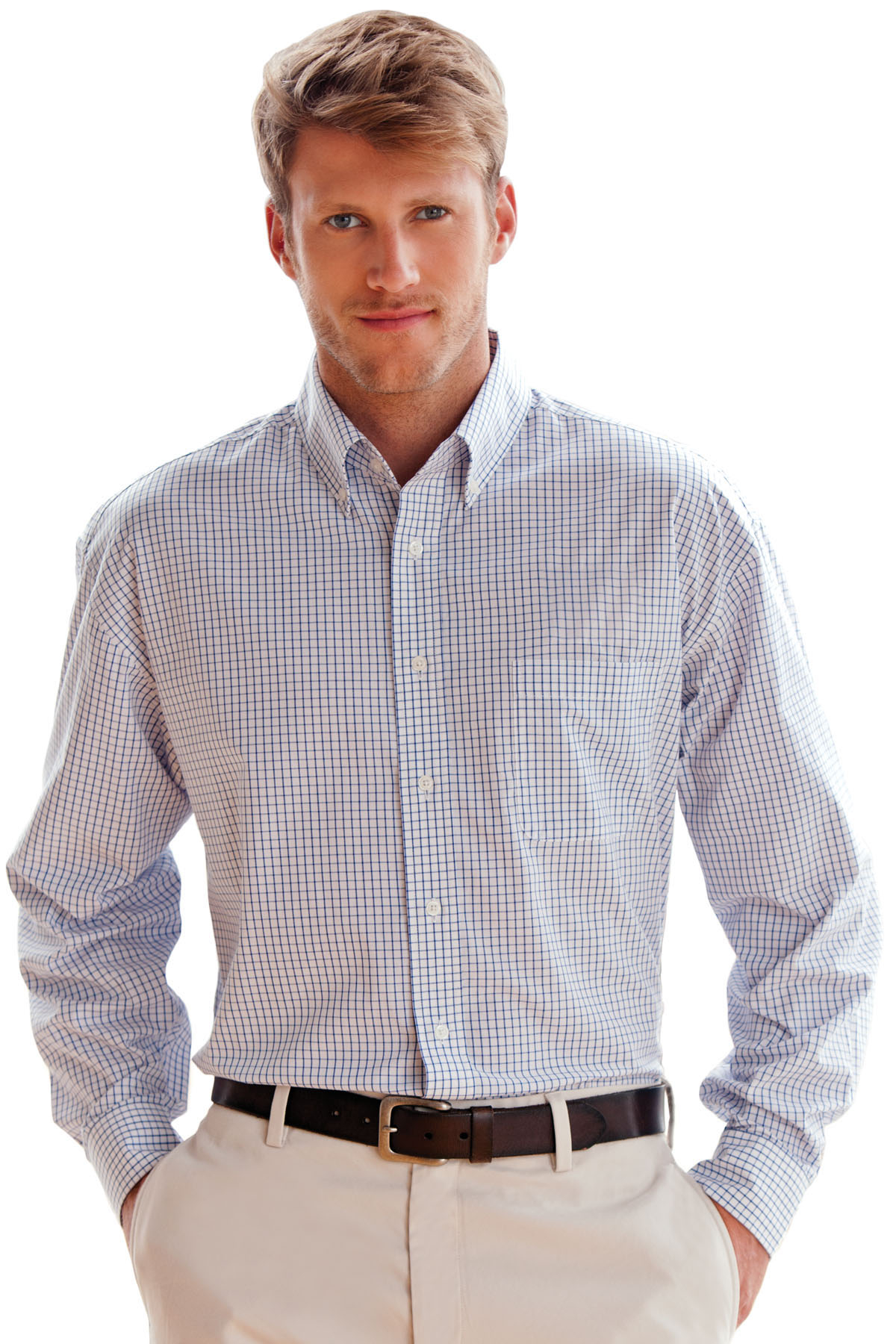 Vantage 1105 - Blended Poplin Box Plaid Shirt